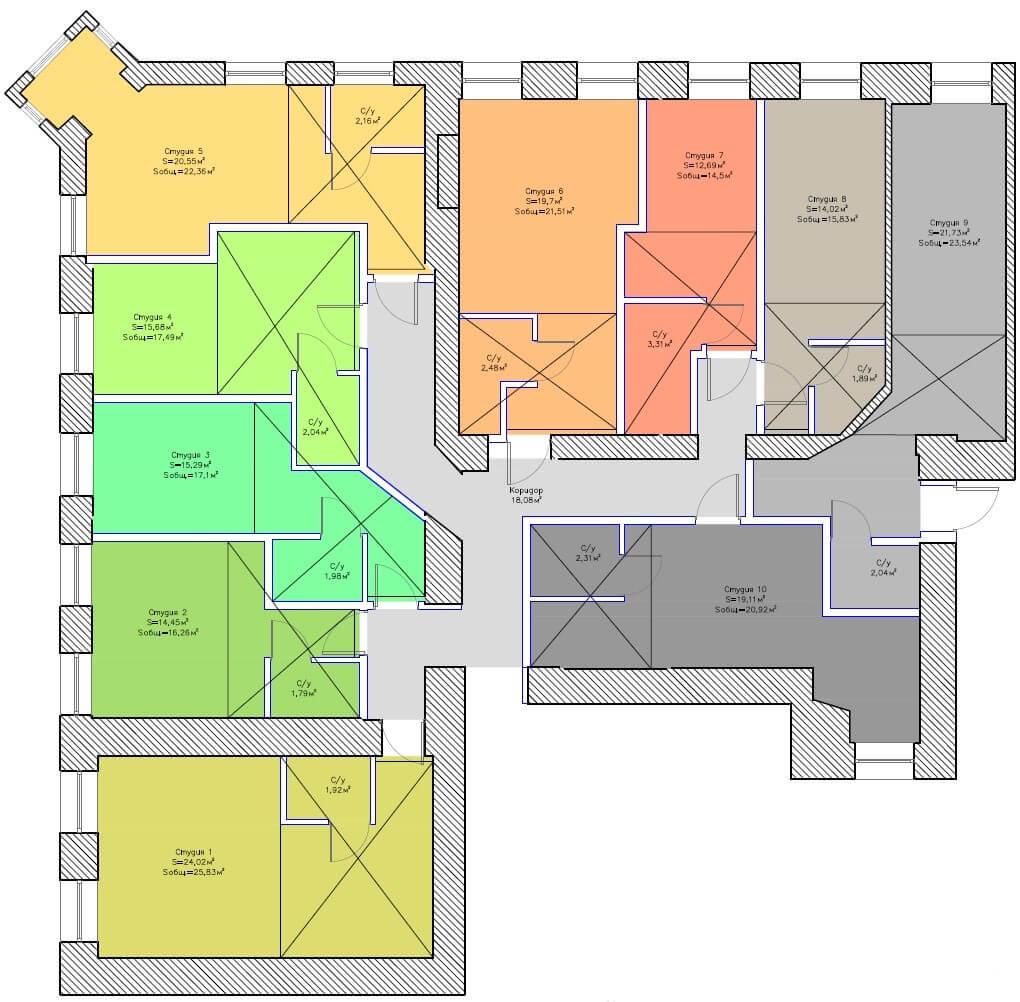 планировки студий бронницкая 19