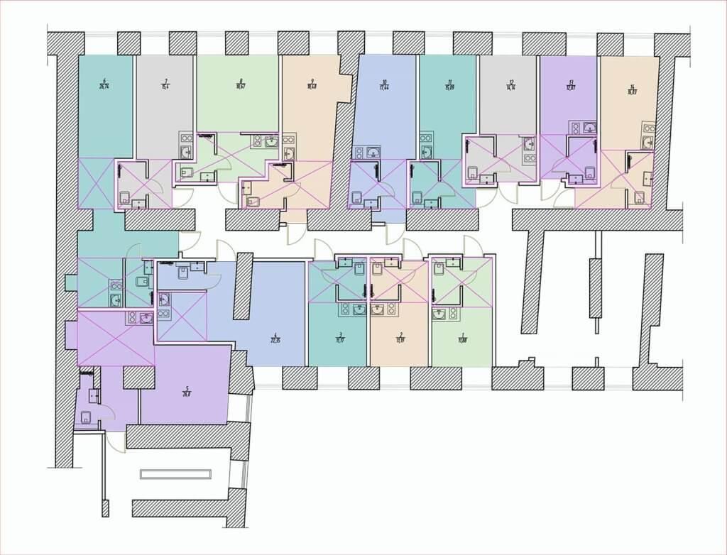 планировки студий улица глинки 3-5-7 2 этаж