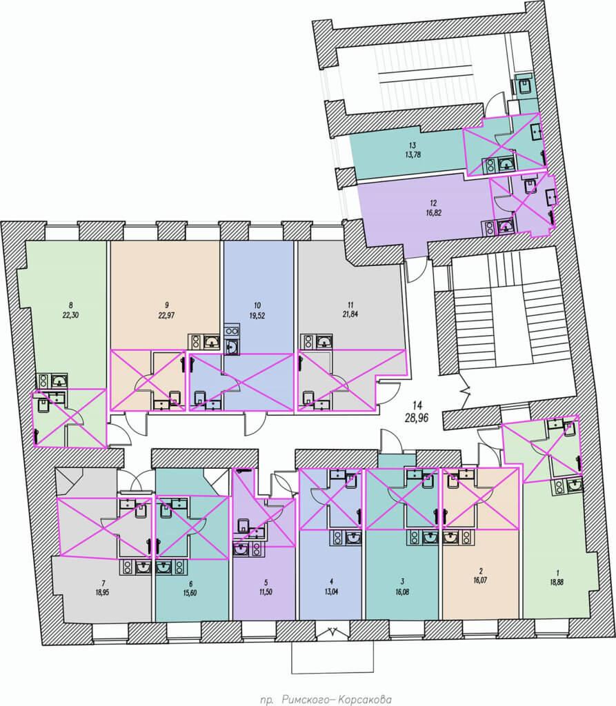 Планировки студий пр. римского корсакого дом 107, 2 этаж